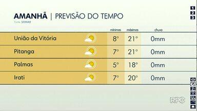 Fim de semana será de temperaturas baixas em todo o Paraná - Na região de Guarapuava não tem previsão de chuva.