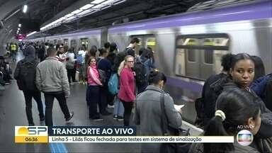 BDSP acompanha funcionamento da Linha 5-Lilás do Metrô - Linha ficou fechada no domingo para testes no sistema de sinalização