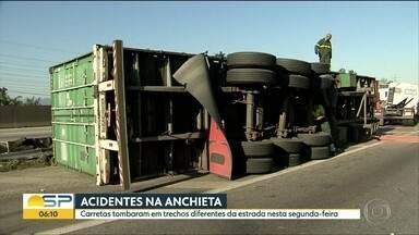 Carretas tombaram na Anchieta nesta segunda-feira - 3 veículos se acidentaram em trechos diferentes da estrada