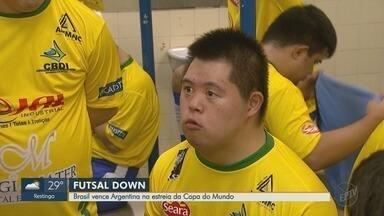 Brasil vence Argentina na estreia da Copa do Mundo de Futsal Down - Jogo terminou em 5 a 2.