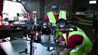 Em operação inédita, drone é usado para transportar rim nos Estados Unidos - Órgão foi transportado em uma caixa com termômetro e aparelho que registrava as temperaturas e outras informações sobre o órgão.