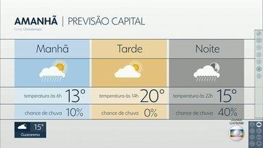 Capital tem previsão de tempo instável e máxima de 20ºC para esta terça - Até sexta-feira, temperaturas deve ficar mais baixas.