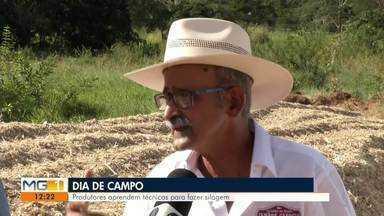 Cooperativa realiza 'Dia de Campo' para produtores rurais em Marilac - Em parceria com empresas, produtores aprendem técnica para fazer silagem.