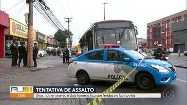 Tentativa de assalto a ônibus no Campinho deixa uma morta e dois feridos - Policiais a paisana reagiram assim que bandidos anunciaram o roubo