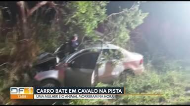 Carro atropela cavalo na DF-440 e passageira morre na hora - O acidente foi na região conhecida como Rota do Cavalo, em Sobradinho. A mulher de 44 anos não resistiu aos ferimentos. O animal também morreu no local. O motorista do carro e outro passageiro tiveram ferimentos leves e foram levados ao hospital.