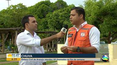 Defesa Civil atendeu 44 chamados durante o fim de semana em Aracaju - Defesa Civil atendeu 44 chamados durante o fim de semana em Aracaju.