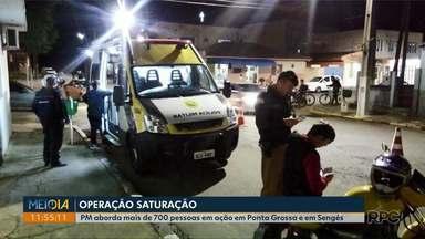 Operação da Polícia Militar abordou mais de 710 pessoas nos Campos Gerais - Ação de prevenção contra furtos, roubos e outros crimes, foi realizada em Ponta Grossa e Sengés.