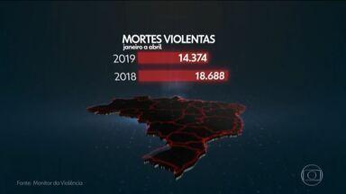 Monitor da violência registra queda em assassinatos no Brasil - Número de mortes violentas cai 23% nos 4 primeiros meses de 2019.