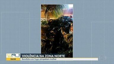 Bandidos em fuga atropelam mulher em Honório Gurgel - Bandidos em fuga trocaram tiros com a polícia, acabaram atropelando uma mulher. Três homens estavam em um carro roubado, resistiram à abordagem da polícia. Chegando em Honório Gurgel, atropelaram uma mulher.