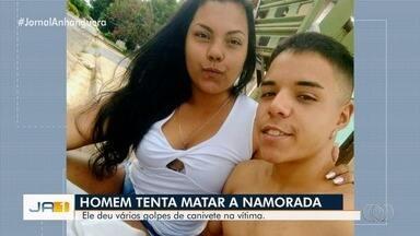 Jovem é preso suspeito de esfaquear namorada durante briga, em Goiânia - Familiares disseram que rapaz já tinha colocado fogo na casa em que eles viviam. Vítima foi socorrida e está internada no Hugo.