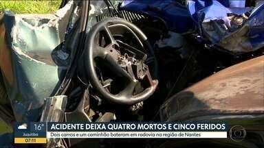 4 mortos e 5 feridos em acidente grave - Batida foi na na SP-421
