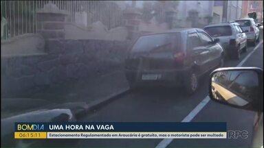 Estacionamento Regulamentado em Araucária é gratuito, mas o motorista pode ser multado - Sistema está funcionando há pouco tempo.