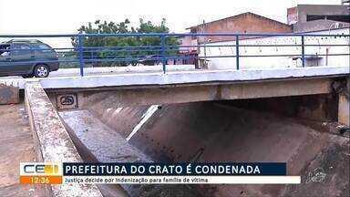 Prefeitura do Crato é condenada por omissão em caso de homem arrastado pelo canal - Confira mais notícias em g1.globo.com/ce