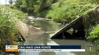 Cai mais uma ponte, desta vez na comunidade do Parque Potira, em Caucaia - Confira mais notícias em g1.globo.com/ce