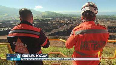 Defesa Civil testa sirenes em Brumadinho, na Grande BH - Segundo bombeiros, não há risco de rompimento e procedimento é normal.