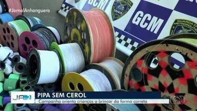 Guarda Civil faz campanha 'Pipa sem Cerol' em escolas de Goiânia - Alunos do Parque Amazônia aprenderem a soltar pipa sem causar risco à vida de ninguém. Linha com cerol não pode de jeito nenhum. É crime e pode dar cadeia.