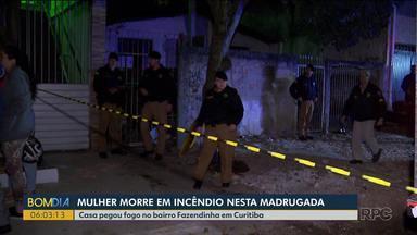 Mulher morre em incêndio - Casa pegou fogo no bairro Fazendinha em Curitiba.