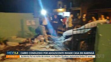 Carro conduzido por adolescente invade casa na zona norte de Maringá - Acidente aconteceu no final da tarde desta quarta-feira (20).