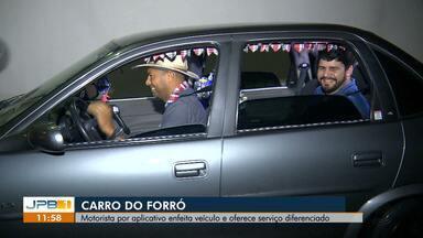 Carro do Forró: Motorista por aplicativo enfeita veículo e oferece serviço diferenciado - Os passageiros já entram na festa antes mesmo de desembarcar.