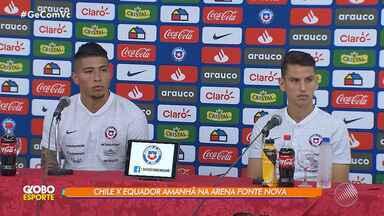 Jogadores da seleção chilena falam sobre expectativas antes do contra o Equador - As duas seleções se enfrentam na Arena Fonte Nova, nesta sexta-feira (21).