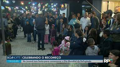Teve festa no bairro Juvevê para comemorar o Dia Mundial do Refugiado - Pessoas que vieram de vários países participaram da festa.