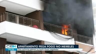 Incêndio atinge apartamento no Meireles - Os moradores tinham acabado de se mudar e só os cachorros estavam em casa.