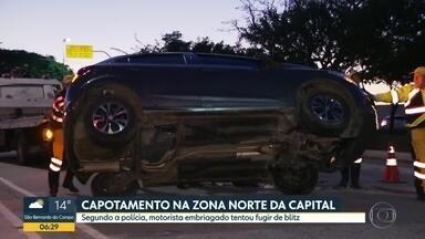Capotamento na zona norte da capital - Segundo a Polícia, motorista embriagado tentou fugir de blitz.