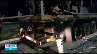 Oito toneladas de maconha são apreendidas no Agreste - Droga estava em dois caminhões que trafegavam por rodovia federal, em São Caetano