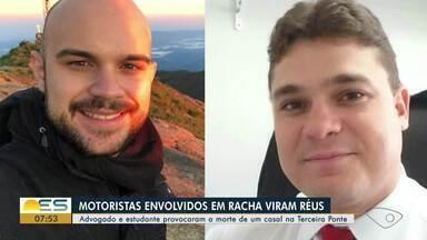 MP-ES denuncia motoristas que causaram acidente que matou casal na Terceira Ponte - De acordo com a denúncia, Ivomar Rodrigues, de 34 anos, e Oswaldo Venturini, de 22, assumiram o risco ao dirigirem sob efeito de álcool e participarem de um racha.