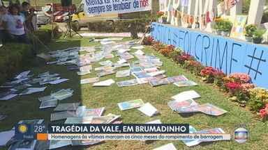 Cinco meses após rompimento da barragem da Vale, familiares fazem ato em Brumadinho - Até o momento, 246 mortos foram identificados e 24 pessoas continuam desaparecidas.