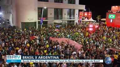 Olodum e Banda Eva animam torcedores em Salvador durante jogo do Brasil - Seleção brasileira enfrenta a Argentina, nesta terça-feira pela Copa América.