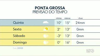 Frente fria chega trazendo chuvas isoladas nos Campos Gerais - Veja a previsão do tempo completa para a região, em Ponta Grossa a máxima não ultrapassa 20°C.