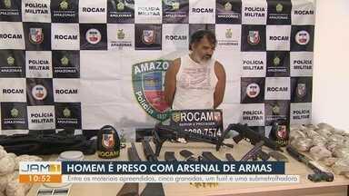 Homem é preso com arsenal de armas em Manaus - Entre os materiais apreendidos, cinco granadas, um fuzil e uma submetralhadora.