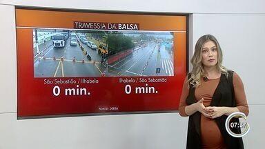 Balsa entre São Sebastião e Ilhabela é paralisada por causa dos fortes ventos - Ventos chegaram a 59 km/h.