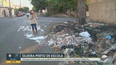 Lixo e entulho jogados na calçada colocam pedestres em risco em Ribeirão Preto - Morador diz que problema persiste há três meses no Parque Ribeirão, na zona Oeste.