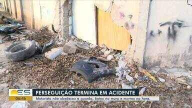 Motorista morre em acidente após fugir da Guarda Municipal, em Vila Velha, ES - Segundo a Guarda, Romildo Conceição da Silva estava em alta velocidade, fugiu de uma abordagem e bateu em um muro. Outras cinco pessoas ficaram feridas e foram socorridas.