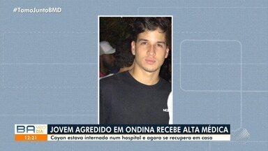 Jovem que foi agredido em Ondina recebe deixa o hospital; pai comenta o caso - Cayan agora se recupera em casa. O caso está sendo investigado pela polícia.