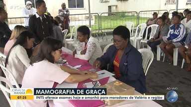 Instituto oferece exames gratuitos de mamografia para moradoras de Valéria - Mutirão teve início na terça-feira (9) e segue até quinta-feira (11).