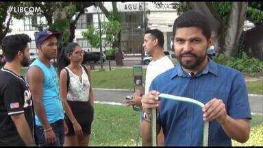Em Belém, esportistas utilizam os espaços das praças para praticar o slackline - Em Paragominas, o cinema é uma das principais opções de lazer no município