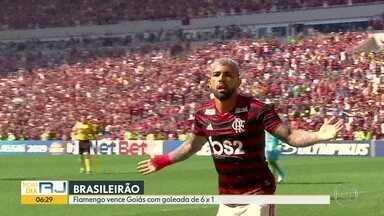Flamengo em tarde de gala vence Goiás por 6 x 1 - Botafogo empatou com Cruzeiro enquanto Vasco perdeu de virada pro Grêmio. Fluminense se prepara para enfrentar o Ceará nesta segunda-feira (15).