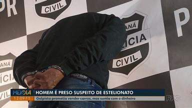 Suspeito de aplicar golpes na venda de carros é preso em Curitiba - Segundo a polícia ele prometia vender veículos a preços acima do mercado e sumia com o veículo e o dinheiro das vítimas.