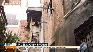Apartamento pega fogo no bairro de Brotas e cinco pessoas são hospitalizadas - Entre as vítimas, estão três crianças.