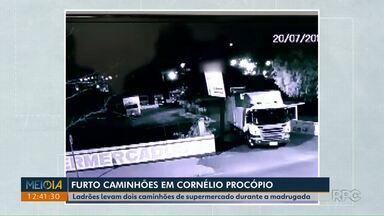 Ladrões levam dois caminhões de supermercado durante a madrugada deste sábado (20) - Os caminhões estavam no estacionamento, que fica em frente ao supermercado de Cornélio Procópio. Segundo o gerente, ao chegar para trabalhar percebeu que dois dos caminhões não estavam estacionados no lugar de costume.