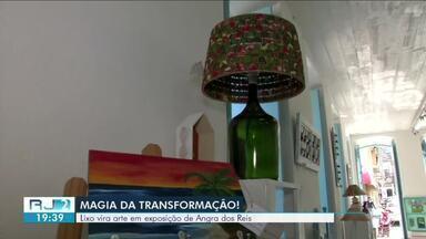 'Mágica da transformação': lixo vira arte em exposição de Angra dos Reis - Artesãos transformam em artigos de decoração materiais que seriam jogados fora.