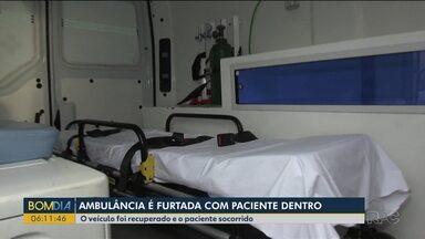 Ambulância é furtada com paciente dentro do veículo - O veículo foi recuperado e o paciente socorrido.
