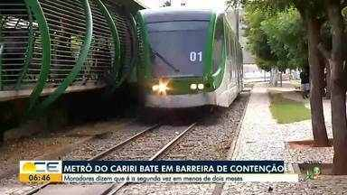 Metrô do Cariri bate numa barreira de contenção pela segunda vez em dois meses - Saiba mais em g1.com.br/ce