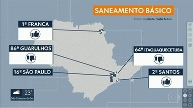 Estudo mostra como está o tratamento de água e esgoto no estado - Guarulhos ficou na pior colocação entre as cidades paulistas. Na outra ponta, Franca foi a melhor do país, segundo o Instituto Trata Brasil.