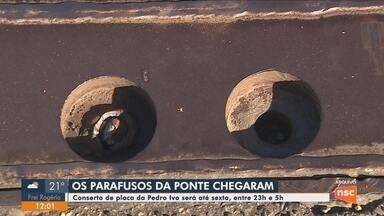 Trabalhos para trocar parafusos da Ponte Pedro Ivo, em Florianópolis, seguem até sexta - Trabalhos para trocar parafusos da Ponte Pedro Ivo, em Florianópolis, seguem até sexta