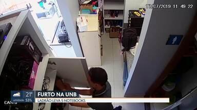 Ladrão furta notebooks na UnB - O ladrão levou cinco notebooks que estavam guardados no armário da empresa AD&M, que funciona dentro do campus da UnB.