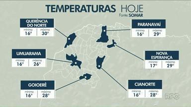 Tarde de quinta (25) será de calor no noroeste - Em Paranavaí, termômetros podem alcançar os 29 graus.